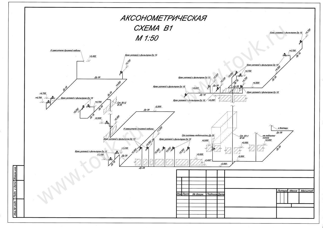 аксонометрическая схема системы горячего водоснабжения